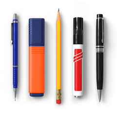 Pen.Pencil.Marker.Highlighter.Ballpoint.Set.3D rendering.Isolated on white background.Top view.
