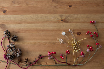 Christmas background with decorations.on wooden board