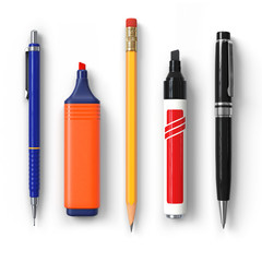 Pen.Pencil.Marker.Highlighter.Ballpoint.Set.Caps Removed.3D rendering.Isolated on white background.Top view.