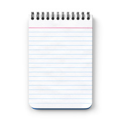 Notepad.Blank.Ruled paper.3D rendering.Isolated on white background.Top view.