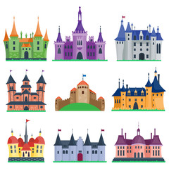 Castle cartoon vector set.
