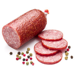 Salami smoked sausage and peppercorns isolated on white backgrou