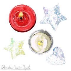 Poster Waterverf Illustraties Watercolor Christmas Clipart - Candles