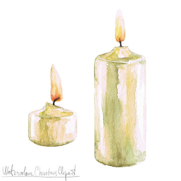 Watercolor Christmas Clipart - Candles