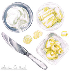 Watercolor Food Clipart - Butter
