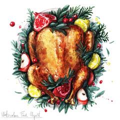 Watercolor Food Clipart - Roast Turkey