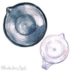 Poster Waterverf Illustraties Watercolor Kitchenware Clipart - Measuring cup and Mixing bowl - top view