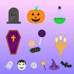 Flat halloween icons and symbols collection