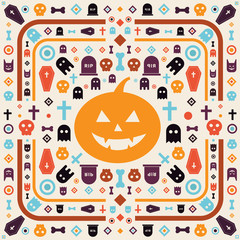 Abstract halloween embroidery pattern vector design