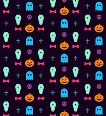 Flat halloween icons signs pattern