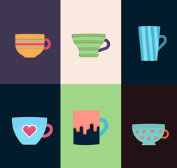 Flat mugs with tracery vector design