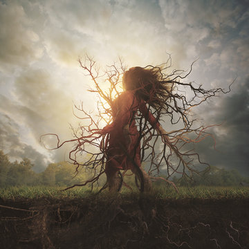 Woman rooted into the ground