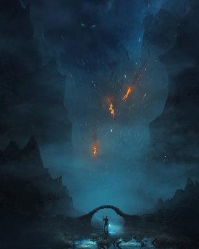 Man walking through darkness