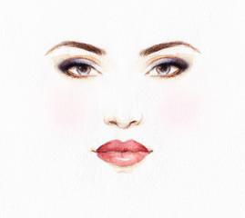 Fototapete - Beautiful woman face. Abstract fashion watercolor illustration