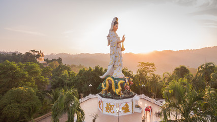 aerial photo by drone at wat Bangreang in PhangNga province.you can see Buddha with a naga on the  head ,QuanYin and big pagoda on the hill top