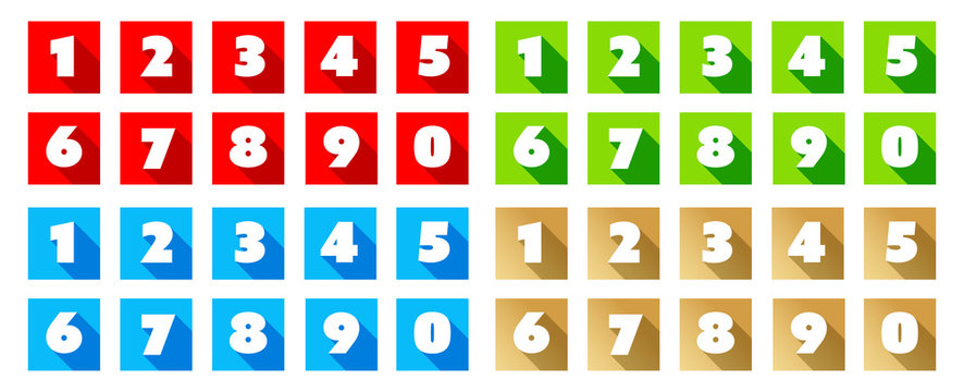 Numbers / Red square Icons