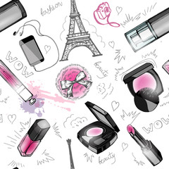 Seamless cosmetics and fashion background with make up artist objects. Vector illustration.