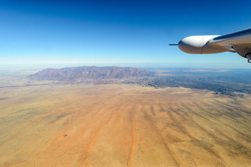 Aerial view of Namibia with the Brandberg on the horrison.