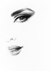 Wall Mural - Beautiful woman face. Abstract fashion watercolor illustration