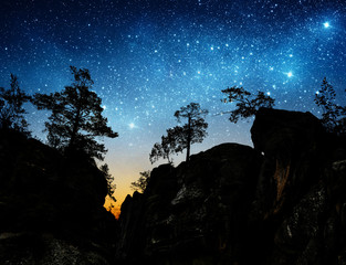 The night sky on the background of mountains and trees.