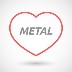 Isolated  line art heart icon with      the text METAL