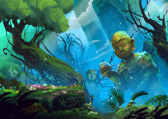 The Mystery Buddhist Sanctuary, a Holy Place in Forest Valley. Video Game's Digital CG Artwork, Concept Illustration, Realistic Cartoon Style Background
