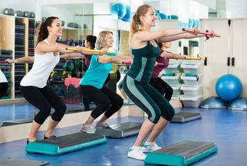 Females working out on aerobic step platform in modern gym