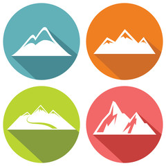 Mountain flat icons with long shadow