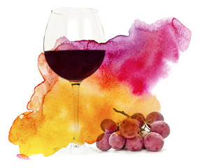 Glass of red wine with grapes and watercolor texture