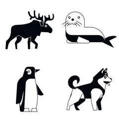 Polar animals in simple style on white shadow