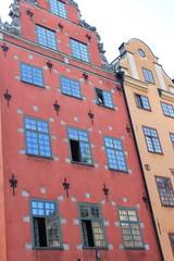 Bunte Hausfassaden in der Altstadt von Stockholm (Schweden)