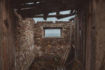 Ruined house. Abandoned house.