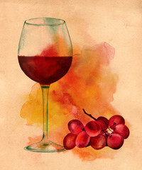 Watercolor glass of red wine with grapes, with artistic textures