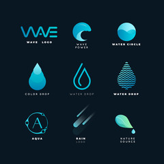 Abstract logo. Water logo. Wave logo. Geometric logo. Water line logo. Nature logo. Nature elements logo. Water vector logo. Water energy logo