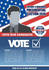 Usa 2016 election a4 flyer mockup with country map, vote checkbox and male candidate. Digital vector image