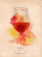 Watercolor drawing of glass of red wine on old paper