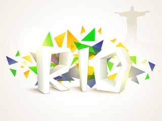 Poster, Banner with 3D Text Rio.