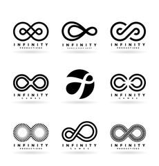Set of various infinity symbols and logo design elements (4)