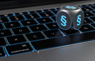 Würfel mit Paragraph Symbol auf Tastatur