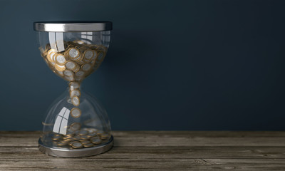 Sanduhr mit Euromünzel - Zeit ist Geld