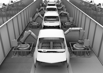 Clay shade image of electric vehicles assembly line. 3D rendering image.