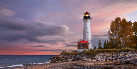 Sunset at the Crisp Point Lighthouse Wall mural