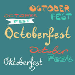 Oktoberfest beer label. Typographic poster with hand drawn lette