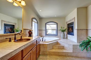 Great bathroom interior in luxury house.