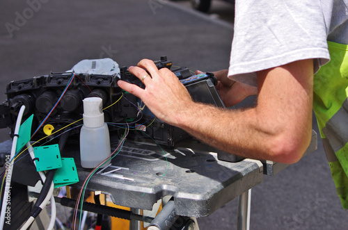 Installation de fibre optique stock photo and royalty free images - Installation de fibre optique au domicile ...