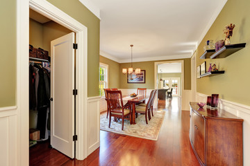 Brown and olive tones dining room interior