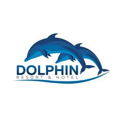 Dolphinarium. Dolphin logo. Resort and Hotel. Vector flat illustration.