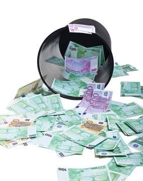inverted basket of money