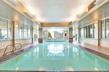 Interior of a swimming pool with tile flooring
