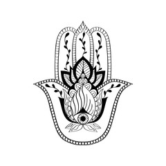 Vector sacred sign - hamsa hand, hand of Fatima. Indian hand drawn ethnic ornament